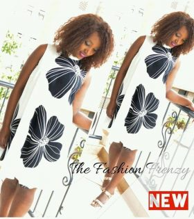 The Fashion Frenzy White & black floral shift dress