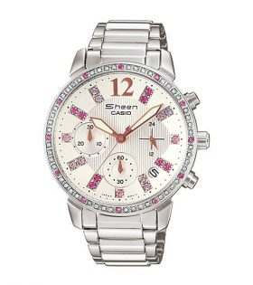Sheen Casio Ladies Watch - Silver Pink Glasses