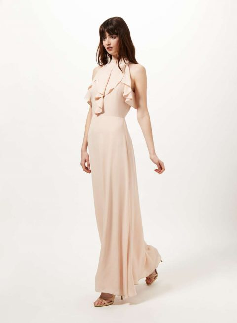Nude Ruffle Maxi Dress 2