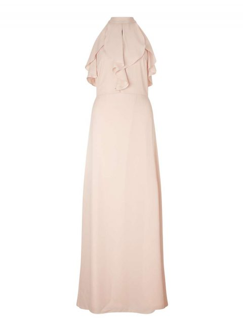 Nude Ruffle Maxi Dress