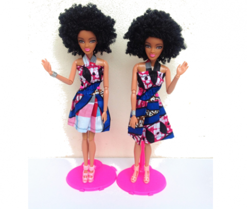 Swahili Princess doll in pink & Blue – Afro 1