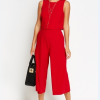 Overlay Red Cropped Jumpsuit