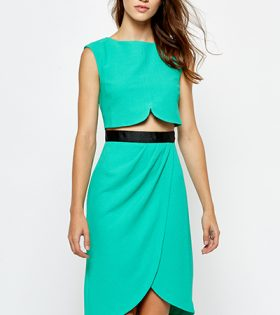 Green Asymmetric Double Layer Dress