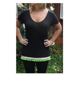Black t-shirt with neon and pompom trimmings
