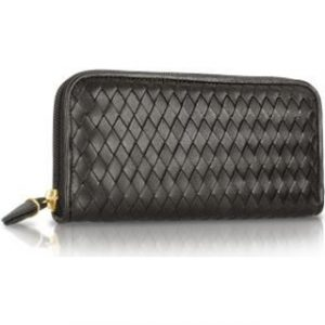 womens-black-italian-woven-leather-concertina-zip-wallet